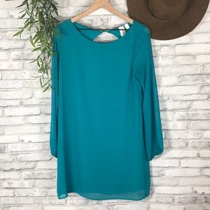 Anthropologie Teal blue keyhole back size L